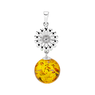 Crown Daisy pendant in cognac amber