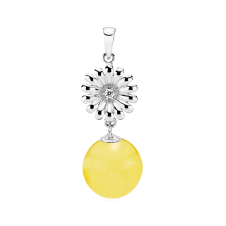 Crown Daisy pendant in milky amber