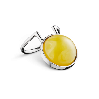 Curves ring in milky amber and silver