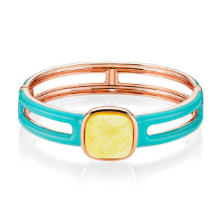 Enlightened Enamel bangle in milky amber and turquoise enamel (medium)