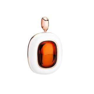 Enlightened Enamel pendant in cherry amber and white enamel