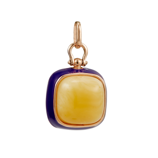 Enlightened Enamel pendant in milky amber and purple enamel