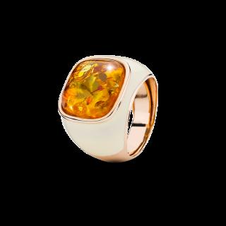 Enlightened Enamel ring in cognac amber and cream enamel