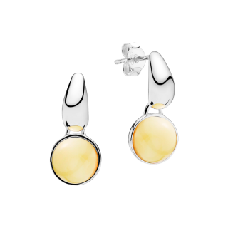 Gravity earrings in milky amber and silver