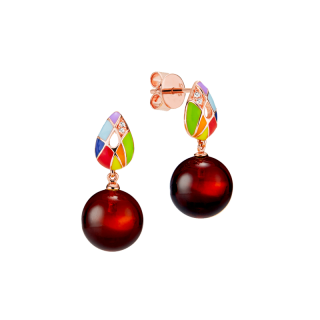 Harlequin earrings in cherry amber and enamel