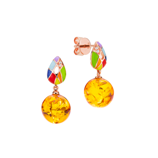 Harlequin earrings in cognac amber and enamel