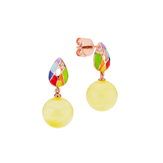 Harlequin earrings in milky amber and enamel