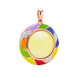 Harlequin pendant in milky amber and enamel