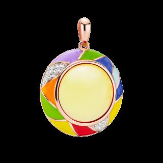 Harlequin pendant in milky amber and enamel