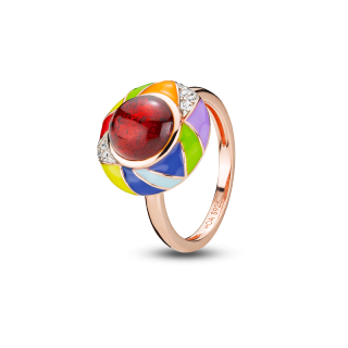 Harlequin ring in cherry amber and enamel