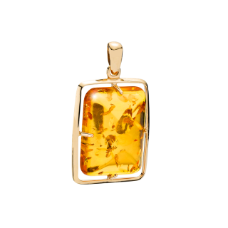 Infinity pendant in cognac amber and gold