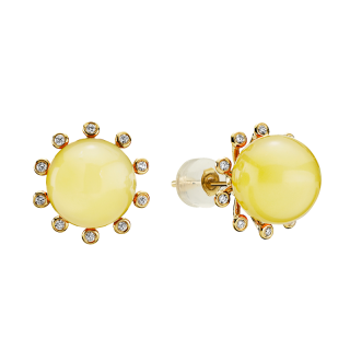 Look of London earrings in milky amber with diamonds