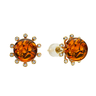 Look of London earrings in cognac amber with diamonds