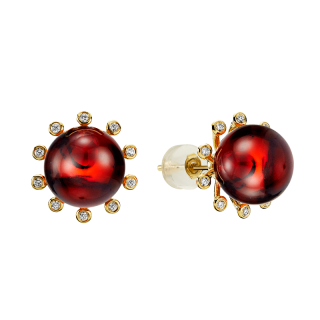 Look of London earrings in cherry amber with diamonds