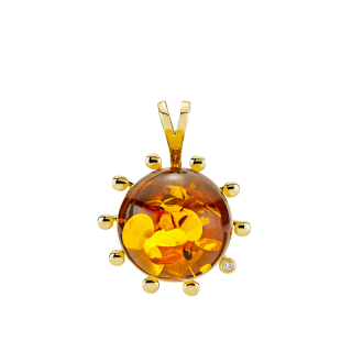 Look of London pendant in cognac amber with diamonds