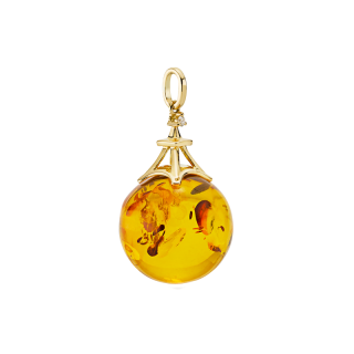 Love in Paris pendant in cognac amber with diamonds