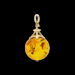 Love in Paris pendant in cognac amber with diamonds