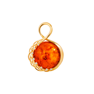 Our Selection pendant in cognac amber, diamonds and gold