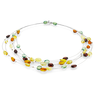 Pure Mixed Amber necklace with silver wire