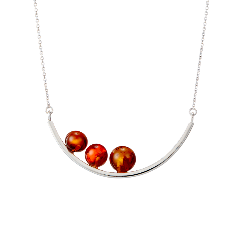 Balance necklace by Bukkehave in cognac amber