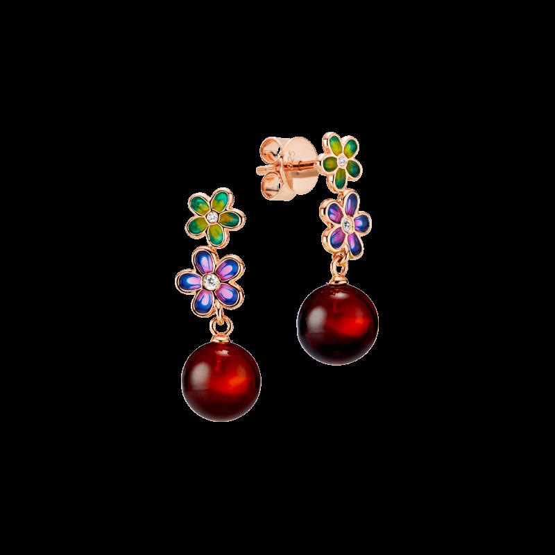 Blossom earrings in cherry amber and enamel
