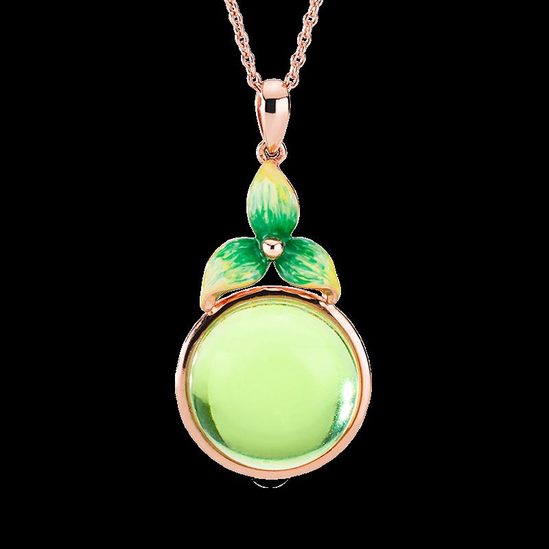 Bygone Garden pendant in Aurora Green Amber and green enamel