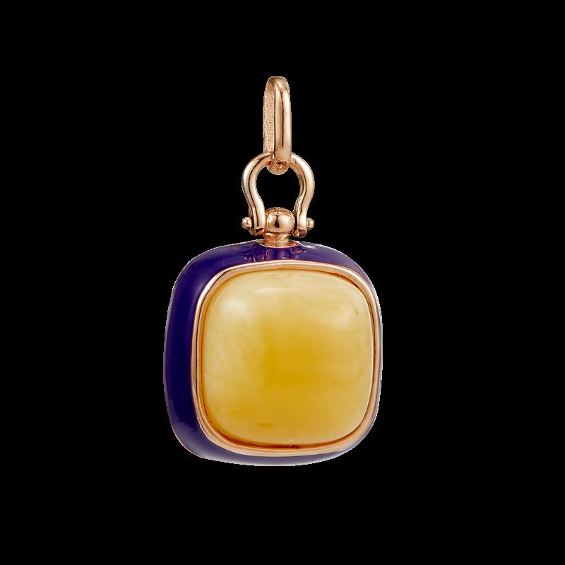 Enlightened Enamel pendant in milky amber and purple enamel