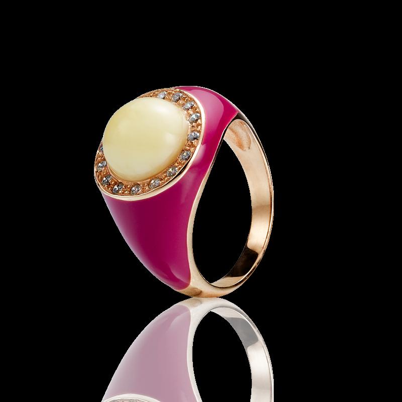 Enlightened Enamel ring in milky amber and fuchsia enamel