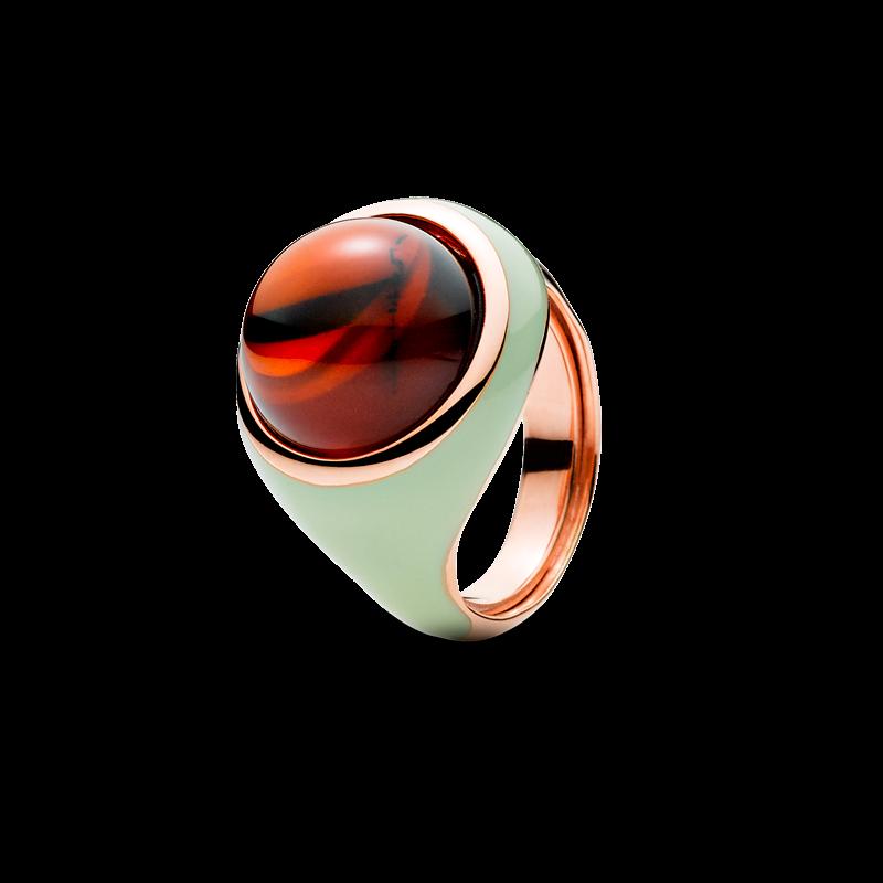 Enlightened Enamel ring in cherry amber and green enamel