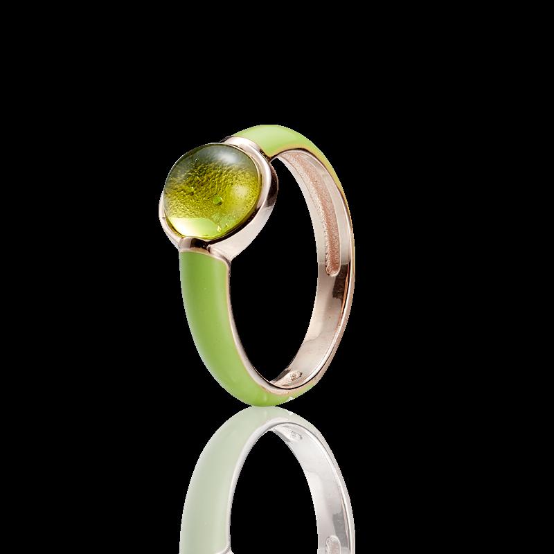 Enlightened Enamel ring in Aurora Green amber and lime enamel