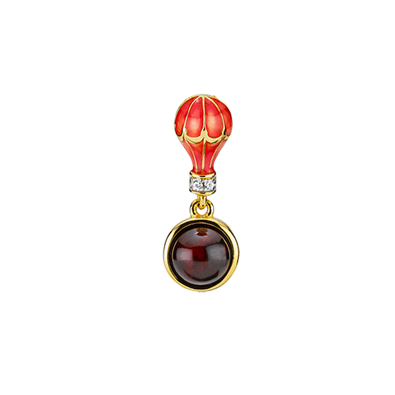 Mother & Me kids pendant in cognac and cherry amber and enamel