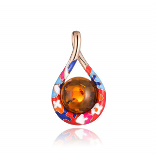 Lucky 8 anniversary pendant in cognac amber and enamel
