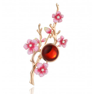 Enlightened Enamel plum flower brooch in cherry amber and white pin enamel