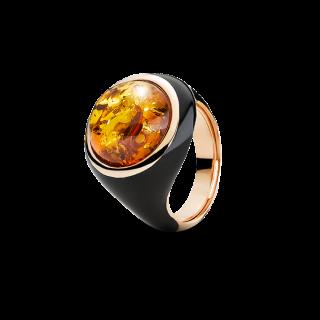 Ring in cognac amber and black enamel