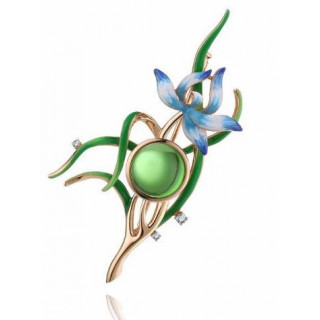 Enlightened Enamel orchid flower brooch in aurora green amber and green blue white purple enamel