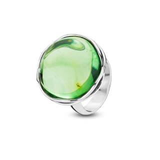Aurora Green Amber and silver ring