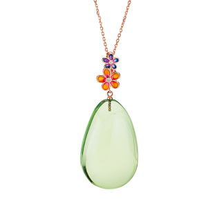 Blossom pendant in aurora green amber and enamel
