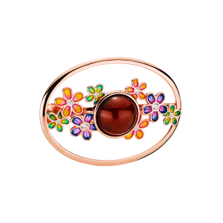 Blossom scarf buckle in cherry amber and enamel