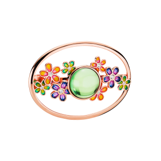 Blossom scarf buckle in aurora green amber and enamel