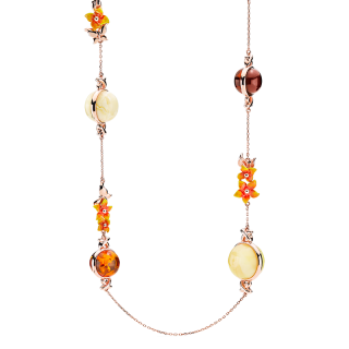 Bygone Garden necklace in mixed amber and orange enamel