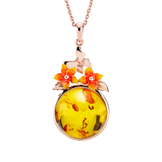 Bygone Garden pendant in cognac amber and orange enamel