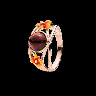 Bygone Garden ring in cherry amber and orange enamel