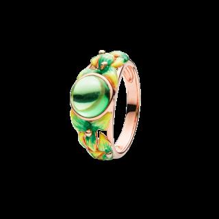 Bygone Garden ring in Green Aurora Amber and green enamel