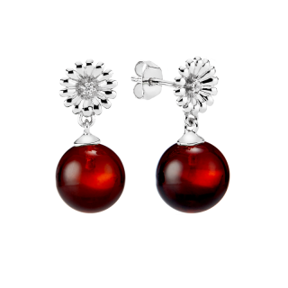 Crown Daisy earrings in cherry amber