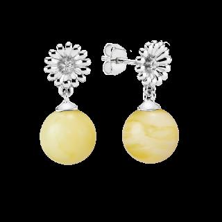 Crown Daisy earrings in milky amber
