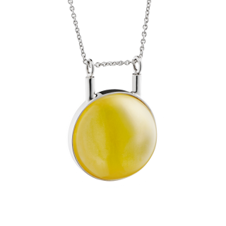 Curves necklace in milky amber and silver
