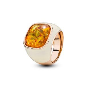 Enlightened Enamel ring in cognac amber and cream enamel