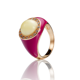 Enlightened Enamel ring in milky amber and fuchsia enamel
