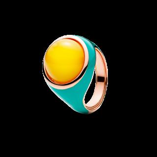 Enlightened Enamel ring in milky amber and turquoise enamel