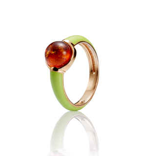 Enlightened Enamel ring in cognac amber and lime enamel